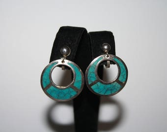 Vintage Sterling Silver And Turquoise Disc Screw Back Earrings