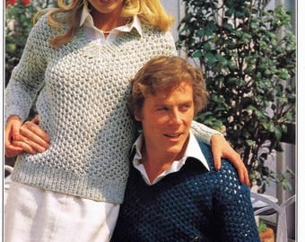 Man's and Lady's V Neck Sweater Pullover Jumper with open mesh stitch Size 81 to 102 cm 32 to 40 inch Patons 1740 - Vintage Knitting Pattern