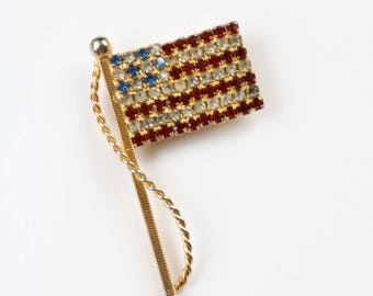 American Flag Crystal Brooch - USA Flag Brooch