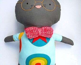 Robert the Geek Cat - rag doll - Stuffed animal - Cloth cat - Soft toy