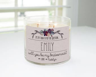 Will You Be My Bridesmaid? Custom Candle Label (Antlers & Flowers) - Bridesmaid Proposal, Maid of Honor, Matron of Honor