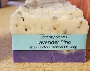 Lavender Pine Essential Oil Shea Butter Bar Soap