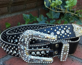 Size  x-Large  Crystal clear rhinestone and silver stud  black genuine leather belt embellished belt beaded belt belt with silver studs