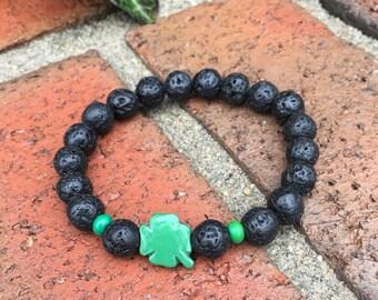 lava stone bracelet beaded shamrock bracelet  bohemian bracelet hippie women's boho stretch bracelet mens wood bracelet St Patricks Day