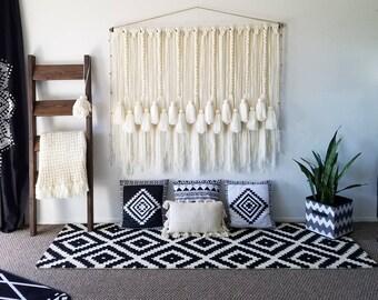 "60"" macramé wall hanging/woven wall hanging/large yarn wall hanging/large yarn tapestry/Tassel wall hanging/Bohemian decor/wedding backdrop"
