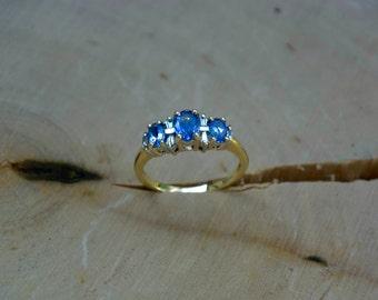 14kt Gold Aquamarine & Diamond Ring