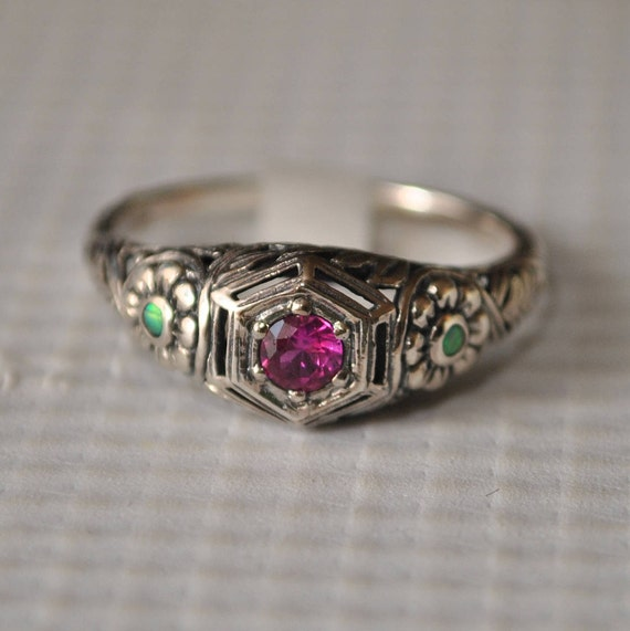 Sterling Silver Ruby Opal Victorian Ring Sz 8  #9832