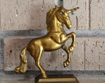 Vintage Solid Brass Unicorn Figurine