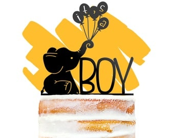 Adorable Its A Boy Cake Topper, Elephant Baby Shower, Elephant Cake Topper, Its a Boy Sign, Baby Sprinkle Decor, Gender Reveal Topper (T397)