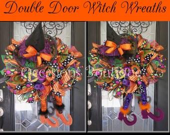 Double Door Halloween Wreaths, Wicked Witch Halloween Wreath, Halloween Wreath, Deco Mesh Wreath, Halloween Decoration, Pre-Order