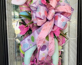 Easter Swag, Easter Wreath, Easter Decoration, Whimsical Wreath, Door Hanger, Deco Mesh Wreath, Front door wreath, Wreath for door