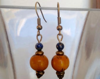Tibetan Prayer Bead Earrings with Lapis Lazuli and Brass