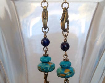 Clasp Earrings with Lapis Lazuli and Turquoise