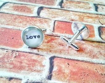 Love cufflinks, wedding cufflinks, christmas cufflinks, holiday cufflinks, love, love gift, love wedding, cufflink gift, valentines day gift