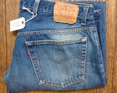 """Vintage Levi Strauss Levis blue 501 XX denim jeans button fly red tab small e workwear made in USA 36"""" x 32"""" (1)"""