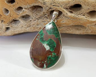 Shattuckite, Malachite, Sterling Silver, Pendant, .925 Sterling Silver, Focal, Necklace, Beading, Jewelry, Supply