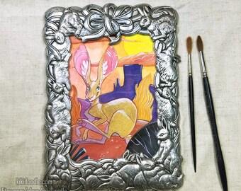 "Original Watercolor // Desert Hare // Unique Frame // 7x10"" Ready to Hang"