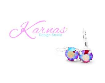 LIGHT SIAM SHIMMER 8mm Earrings Made With Swarovski Crystal *Choose Finish & Style *Karnas Design Studio™ *Free Shipping