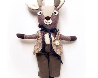 "Fawn Deer Woodland Animal plush toy softie plushie child 12"" MiaZzz stuffed animal rag doll"