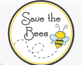 """Save The Bees Bumper Sticker Decal 4"""" Circle"""