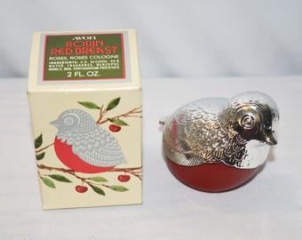 Avon Robin Red Breast with Roses, Roses Cologne 1974 NIB