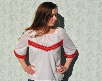 Peasant blouse, Hungarian peasant blouse, embroidered peasant blouse, traditional folk blouse, embroidered shirt, embroidered blouse