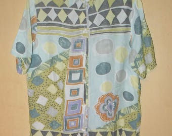 80s Pattern Shirt / short-armed Blouse