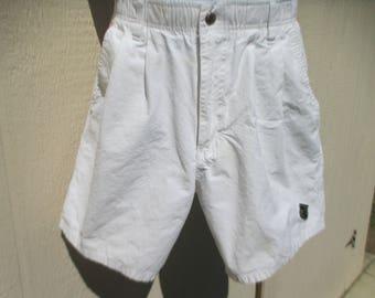 80's Mans White 'OP' High Waist, Snap Up, Cotton Shorts