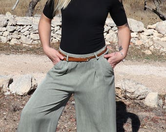 Womens Pants,Womens High Waisted trousers,Trousers Women,Party Pants, Green Summer Pants,Flare Wide Leg Pants,Casual Pants,Womens Trousers