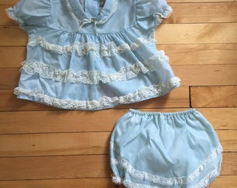 Vintage 1950s Baby Infant Girls Blue Sheer Lace Dress with Ruffle Bum Bloomers! Size 6-12 months