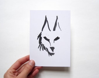 Black wolf postcard, ink drawing digital print on recycled paper