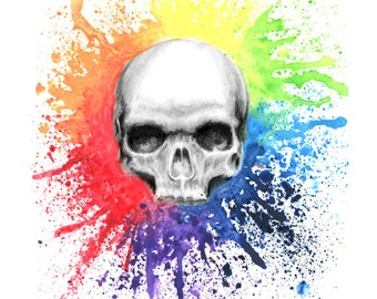 skull print, abstract art, abstract art prints, skull art, abstract painting, skull painting, abstract print, rainbow skull, watercolour
