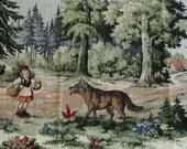 RESERVED for Helen Little Red Riding Hood Vest Woodland Fairytale Mori Girl Clothing, Jacket  Vintage Landscape Gobelin Fabric