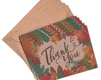 Thank you cards, set 10, 5 or 1 thank you card, autumn thank you, thank you cards, fall thank you card, fall wedding, thanksgiving card