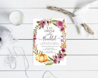 Thanksgiving dinner Invitation, Fall Autumn , Watercolor Floral Wreath, Pumpkin Invitation, Thanksgiving celebration invite. Printable