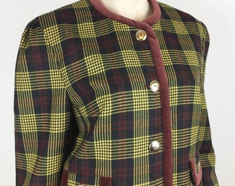 Vintage Jacket. Yarell. Yellow & Brown Plaid. Checked. 100% Wool. 1990s.