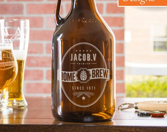 Beer Growler, Personalized Gift, Custom Beer Growler, Gift For Men, Wedding Growler, Groomsmen Gift, Beer Glassware, Unique Gift For Him