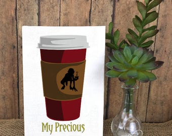 My Precious Coffee with Lord of the Rings Inspired Gollum Art Print - Humorous gift for Coffee Addict