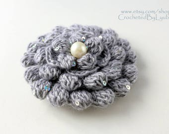 Crochet Brooch - Gray Flower - 3d Flower - Large Flower - Unique Crochet Gift For Women - Gift For Her - Hand Crocheted Item - Ready to Ship