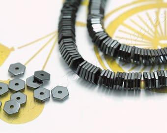 Hexagon Hematite, (6mm x 1mm) Hexagon Flat Hematite Beads, 1 Strand (200 pcs) Black Tiny Hematite Beads, Natural Hematite Beads / HBY-069