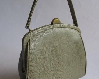 Vintage 50's Taupe Snake Purse by Theodor California, Retro Purse, Mod Purse, Top Handle Bag, 50's Bag, Brass, Art Deco