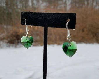 Swarovski Emerald Green Heart Earrings, Swarovski Earrings, Heart Earrings