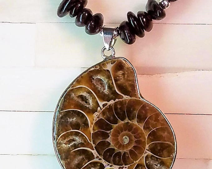 Ammonite and Garnet Necklace, Ammonite Fossil Necklace, Garnet Necklace, Fossil Necklace
