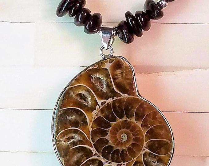 Ammonite and Garnet Necklace, Ammonite Fossil Necklace, Garnet Necklace, Fossil Necklace
