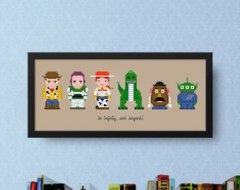 Toy Story Cross Stitch Pattern Kids | Best Cross Stitch | Kids Cross Stitch For Children | Pixar Cross Stitch | Woody Cross Stitch Buzz Rex