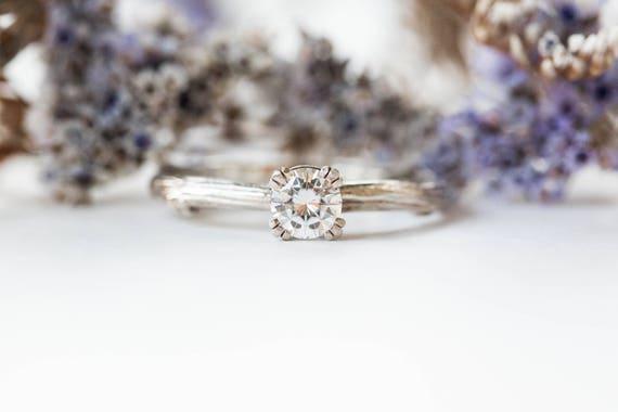 Forever one moissanite 14k gold twig engagement ring
