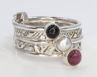 Set of 5 Stack Rings, Ruby, Pearl, Black Onyx, 925 Sterling Silver Stacking Rings US Size 8 1/4 (Q) #B131