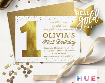 1st birthday invitations printed | white & gold confetti | REAL GOLD FOIL | one little candle girl or boy 1 first birthday | gold envelopes