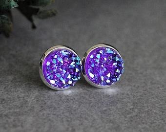 Purple Stud Earrings, Pantone Ultra Violet Earrings, Purple Druzy Earrings, Pantone Violet Earrings, Pantone Purple Earrings, Purple Posts