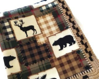 Wildlife Fleece Blanket Checkered Crochet Edge,Moose,Elk,Bear,and Caribou,Large Elegant Throw,Decor,Housewarming,Hand-Stitched, Gift for Him
